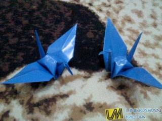 cara membuat origami burung LM